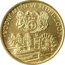 Zlatá mince 2500 Kč Vodní mlýn ve Slupi 2007 Standard