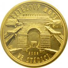 Zlatá mince 2500 Kč Řetězový most ve Stádlci 2008 Štandard