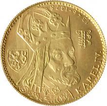 Zlatá minca Karel IV. Jednodukát Československý 600. výročie úmrtia 1979