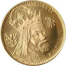 Zlatá minca Karel IV. Jednodukát Československý 600. výročie úmrtia 1978