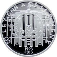 Strieborná minca 200 Kč 20 let ČNB a českej meny 2013 Proof