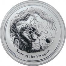 Stříbrná investiční mince Year of the Dragon Rok Draka Lunární 1 Oz 2012