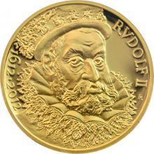 Zlatá půluncová medaile Rudolf II. 400. Výročí úmrtí 2012 Proof