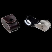 Precizní skládací lupa 10x s LED a UV lampou Leuchtturm