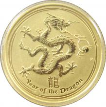Zlatá investičná minca Year of the Dragon Rok Draka Lunárny 1/10 Oz 2012