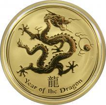 Zlatá investiční mince Year of the Dragon Rok Draka Lunární 1 Oz 2012