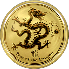 Zlatá investičná minca Year of the Dragon Rok Draka Lunárny 1 Oz 2012