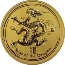 Zlatá investičná minca Year of the Dragon Rok Draka Lunárny 2 Oz 2012