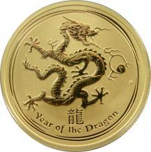 Zlatá investiční mince Year of the Dragon Rok Draka Lunární 1/2 Oz 2012