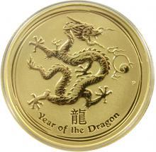 Zlatá investiční mince Year of the Dragon Rok Draka Lunární 1/4 Oz 2012