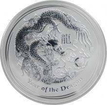 Stříbrná investiční mince Year of the Dragon Rok Draka Lunární 10 Oz 2012