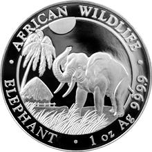 Stříbrná investiční mince Slon africký Somálsko 1 Oz