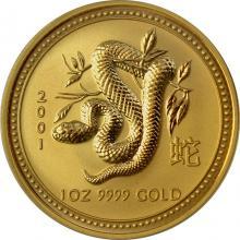 Zlatá investičná minca Year of the Snake Rok Hada Lunární 1 Oz 2001