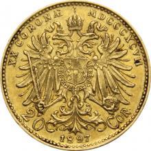 Zlatá mince Dvacetikoruna Františka Josefa I. Rakouská ražba 1897