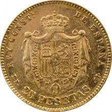 Zlatá minca 25 Pesetas Alfons XII. 1877