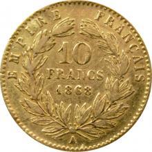 Zlatá mince 10 Frank Napoleon III. 1868 A