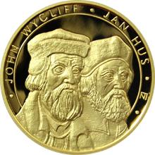 Zlatá investiční mince 50 NZD Jan Hus a John Wycliff 2011 Proof