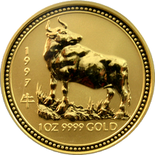 Zlatá investiční mince Year of the Ox Rok Buvola Lunární 1 Oz 1997