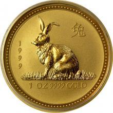 Zlatá investiční mince Year of the Rabbit Rok Králíka Lunární 1 Oz 1999