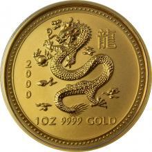 Zlatá investičná minca Year of the Dragon Rok Draka Lunárny 1 Oz 2000