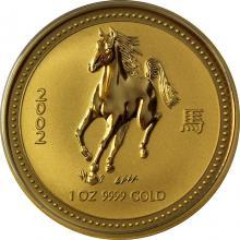 Zlatá investičná minca Year of the Horse Rok Koňa Lunárny 1 Oz 2002