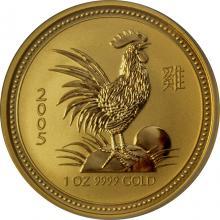 Zlatá investičná minca Year of the Rooster Rok Kohúta Lunárny 1 Oz 2005
