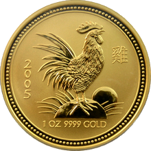 Zlatá investiční mince Year of the Rooster Rok Kohouta Lunární 1 Oz 2005