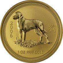 Zlatá investiční mince Year of the Dog Rok Psa Lunární 1 Oz 2006