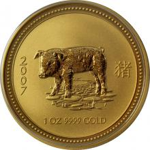 Zlatá investiční mince Year of the Pig Rok Vepře Lunární 1 Oz 2007