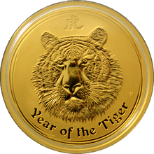 Zlatá investiční mince Year of the Tiger Rok Tygra Lunární 1 Oz 2010