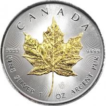 Stříbrná mince pozlacený Maple Leaf 1 Oz Štandard