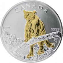 Stříbrná mince pozlacená Puma Canadian Wildlife 1 Oz 2012 Štandard