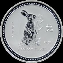 Strieborná investičná minca Year of the Rabbit Rok Králika Lunárny 1 Oz 1999