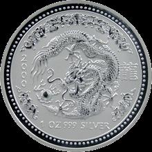 Strieborná investičná minca Year of the Dragon Rok Draka Lunárny 1 Oz 2000