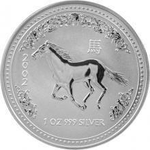 Stříbrná investiční mince Year of the Horse Rok Koně Lunární 1 Oz 2002