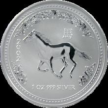 Strieborná investičná minca Year of the Horse Rok Koňa Lunárny 1 Oz 2002