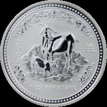 Strieborná investičná minca Year of the Goat Rok Kozy Lunárny 1 Oz 2003