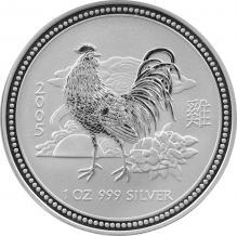 Stříbrná investiční mince Year of the Rooster Rok Kohouta Lunární 1 Oz 2005