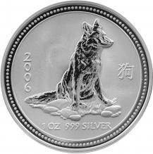 Stříbrná investiční mince Year of the Dog Rok Psa Lunární 1 Oz 2006
