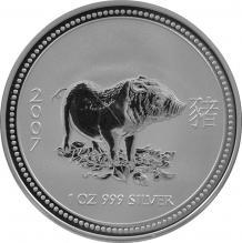 Stříbrná investiční mince Year of the Pig Rok Vepře Lunární 1 Oz 2007