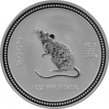 Stříbrná investiční mince 2007 Year of the Mouse Rok Myši Lunární 1 Oz 2008