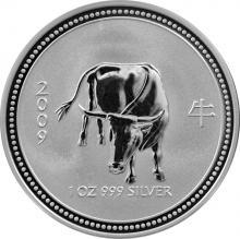 Stříbrná investiční mince 2007 Year of the Ox Rok Buvola Lunární 1 Oz 2009