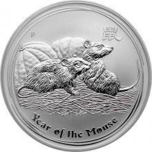 Strieborná investičná minca Year of the Mouse Rok Myši Lunárny 1 Oz 2008