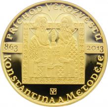 Zlatá minca10000 Kč Konštantín a Metodej Príchod verozvestov 1oz 2013 Proof