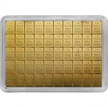 50 x 1g Combi Bar Valcambi SA Švajčiarsko Investičná zlatá tehlička