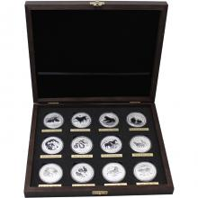 Luxusní sada 12 stříbrných mincí 1 Oz Lunární série II. 2008 - 2019