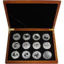 Luxusní sada 11 stříbrných mincí 1 Oz Lunární série II. 2008 - 2019