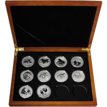 Luxusní sada 10 stříbrných mincí 1 Oz Lunární série II. 2008 - 2019