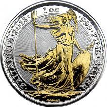 Stříbrná mince pozlacená Britannia 1 Oz