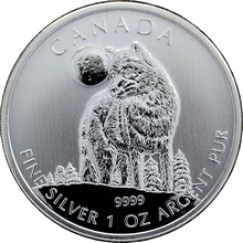 Strieborná investičná minca Vlk Canadian Wildlife 1 Oz 2011